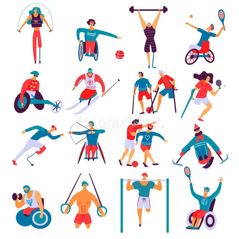 Insieme del piano di sport dei disabili royalty illustrazione gratis