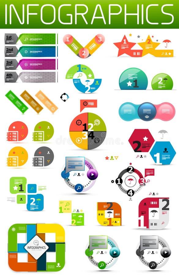 Insieme degli elementi infographic di carta variopinti di disegno royalty illustrazione gratis