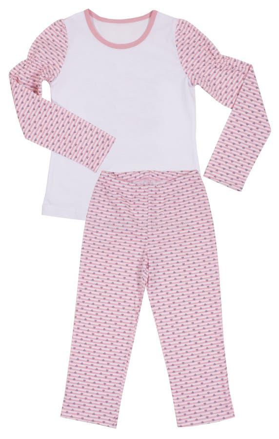 Insieme del pigiama delle ragazze dei bambini rosa isolato su bianco immagine stock