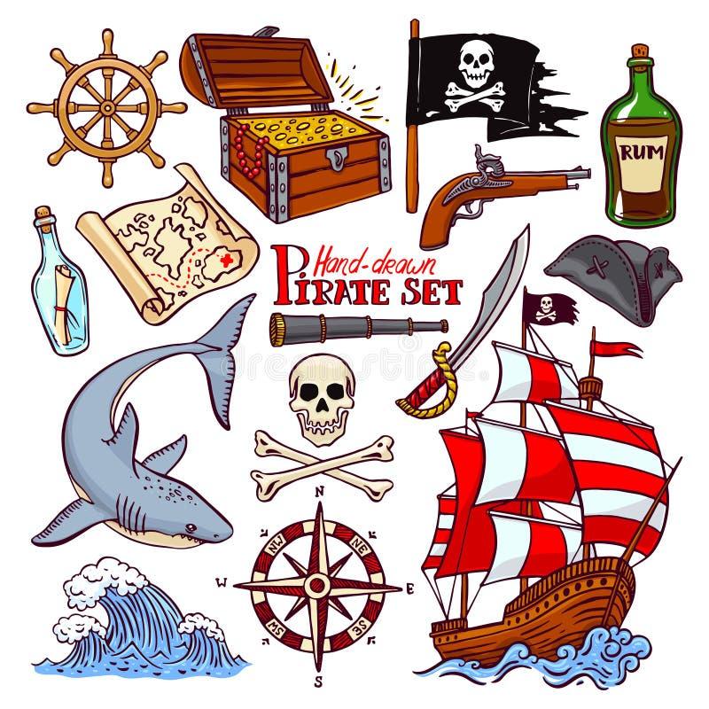 Insieme del pirata illustrazione vettoriale