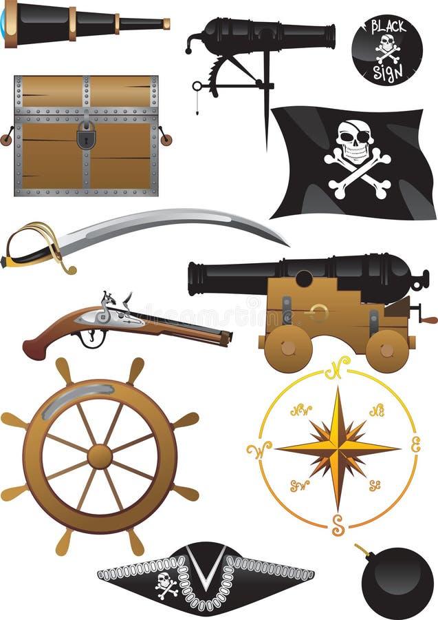 Insieme del pirata royalty illustrazione gratis