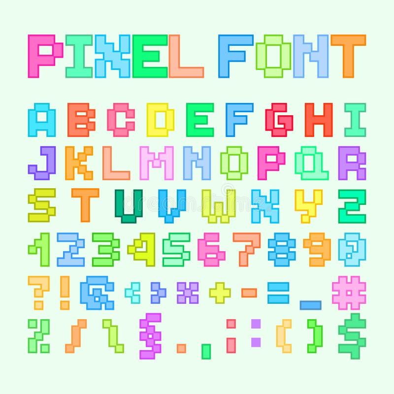 Insieme del pixel Art Alphabet, delle lettere e dei numeri illustrazione vettoriale