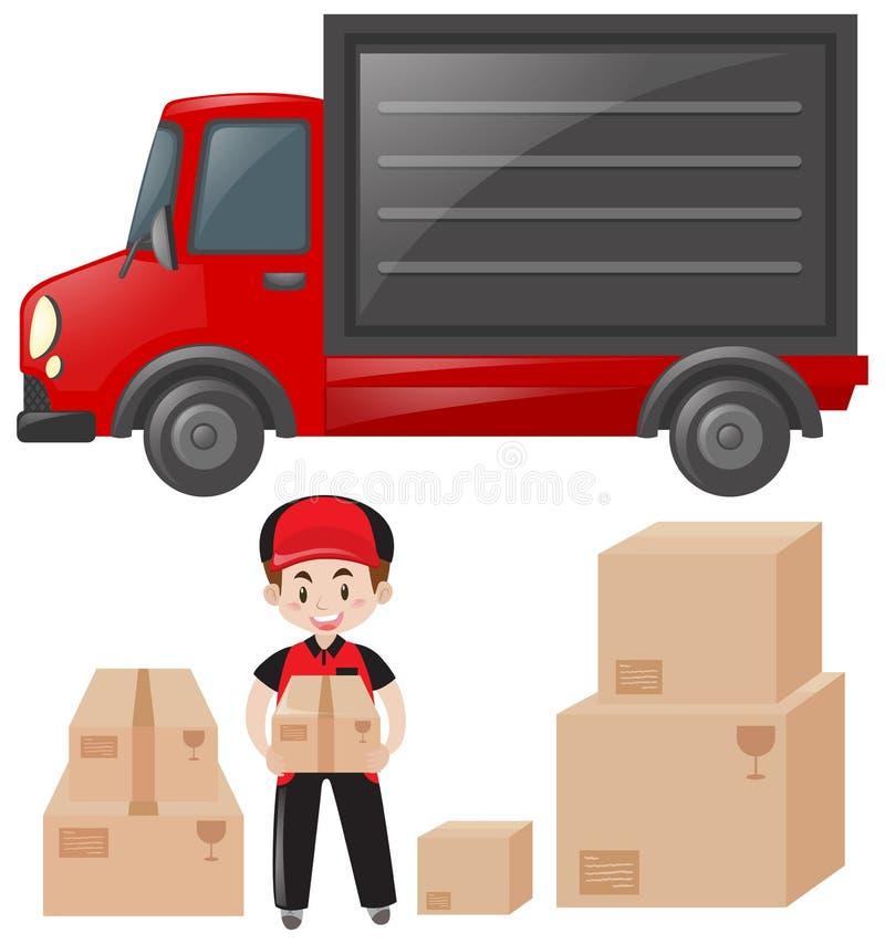 Insieme del postino e del servizio di distribuzione illustrazione di stock