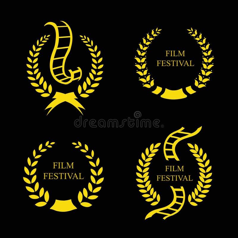 Insieme del premio dell'oro di festival cinematografico royalty illustrazione gratis