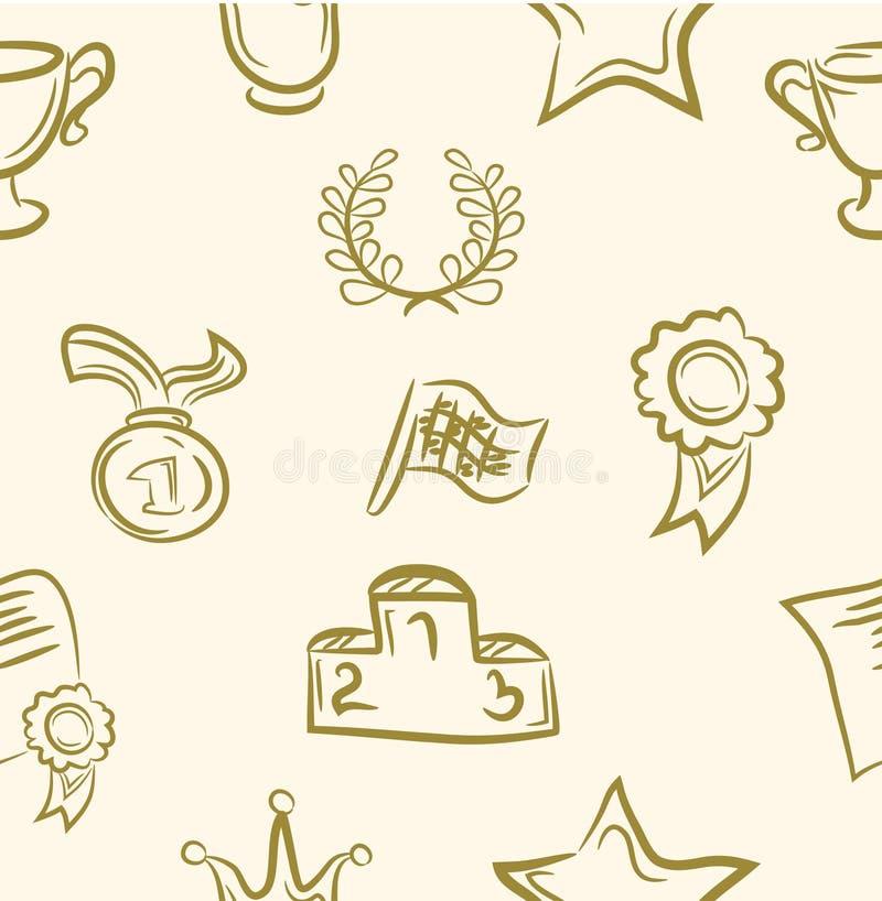 Insieme del premio di scarabocchio Reticolo senza giunte Vettore illustrazione di stock