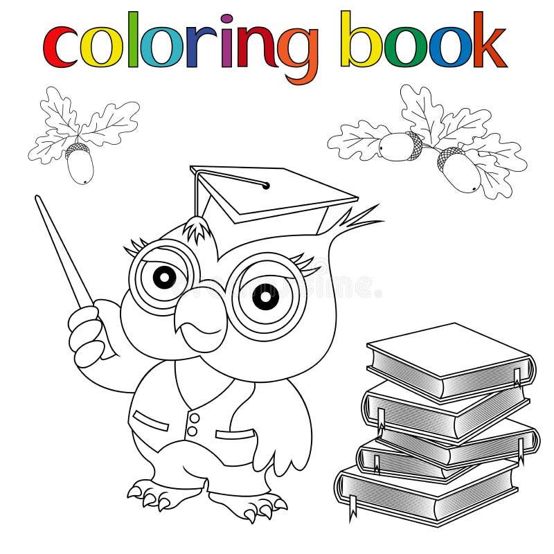 Insieme del professor Owl, libri e ghiande per il libro da colorare illustrazione di stock