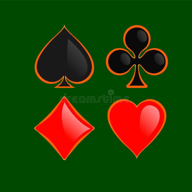 Insieme del profilo brillante dell'oro del suitswith della carta da gioco isolato su fondo verde illustrazione vettoriale