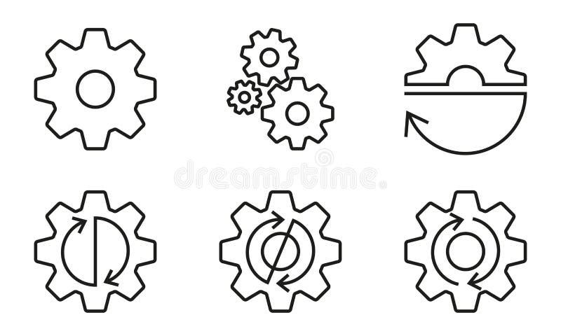 Insieme del profilo dei denti e degli ingranaggi Ruote di ingranaggio con le frecce Illustrazione di vettore illustrazione vettoriale