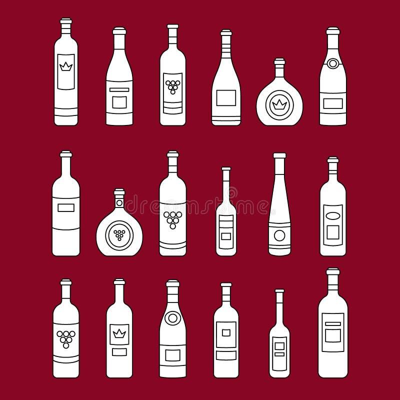 Insieme del profilo delle bottiglie di vino fuori linea bottiglie di vino Generi differenti di vino Progetti gli elementi per le  illustrazione di stock