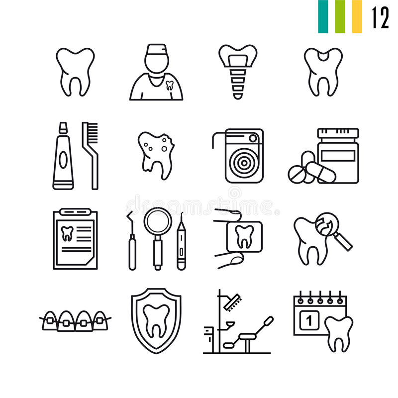 Insieme del profilo delle icone dentarie illustrazione di stock