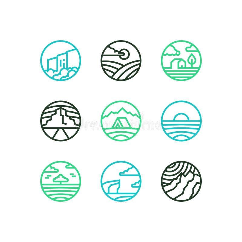 Insieme del profilo di vettore del logos della natura La linea arte eps10 abbellisce con la cascata, il mare, le montagne, il cam royalty illustrazione gratis