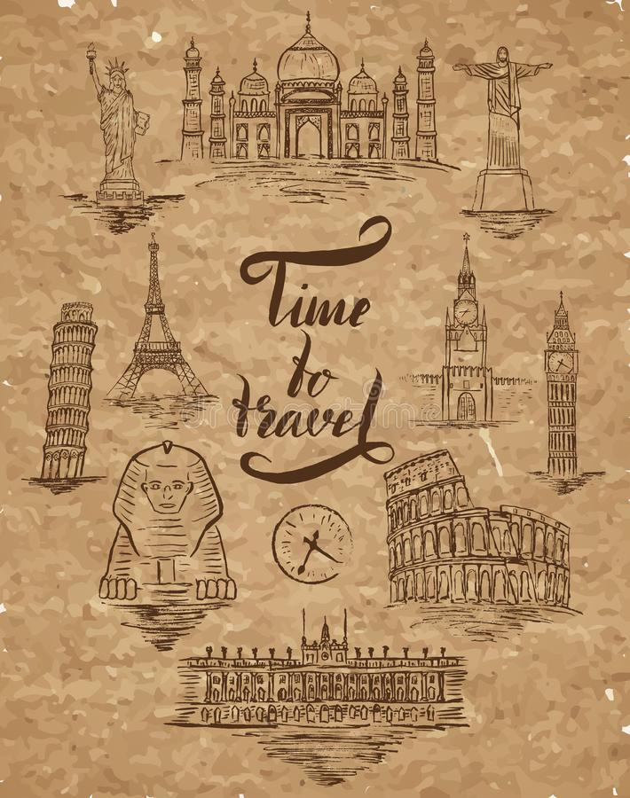 Insieme del punto di riferimento di Agra, Il Cairo, Rio de Janeiro, Pisa, Madrid, New York, Mosca, Parigi, Roma, Londra, segnante illustrazione vettoriale