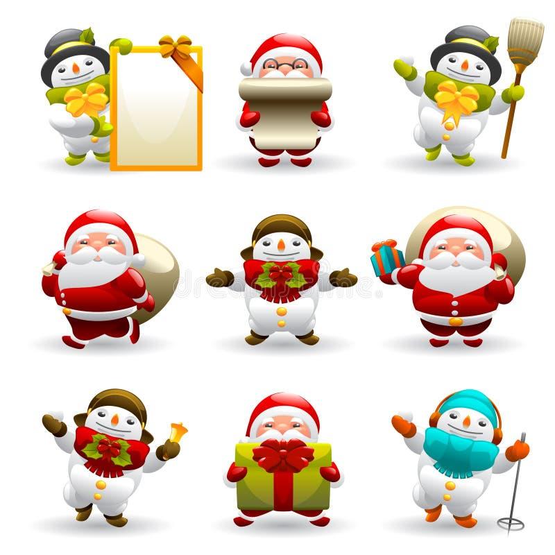 Insieme del pupazzo di neve e del Babbo Natale illustrazione di stock