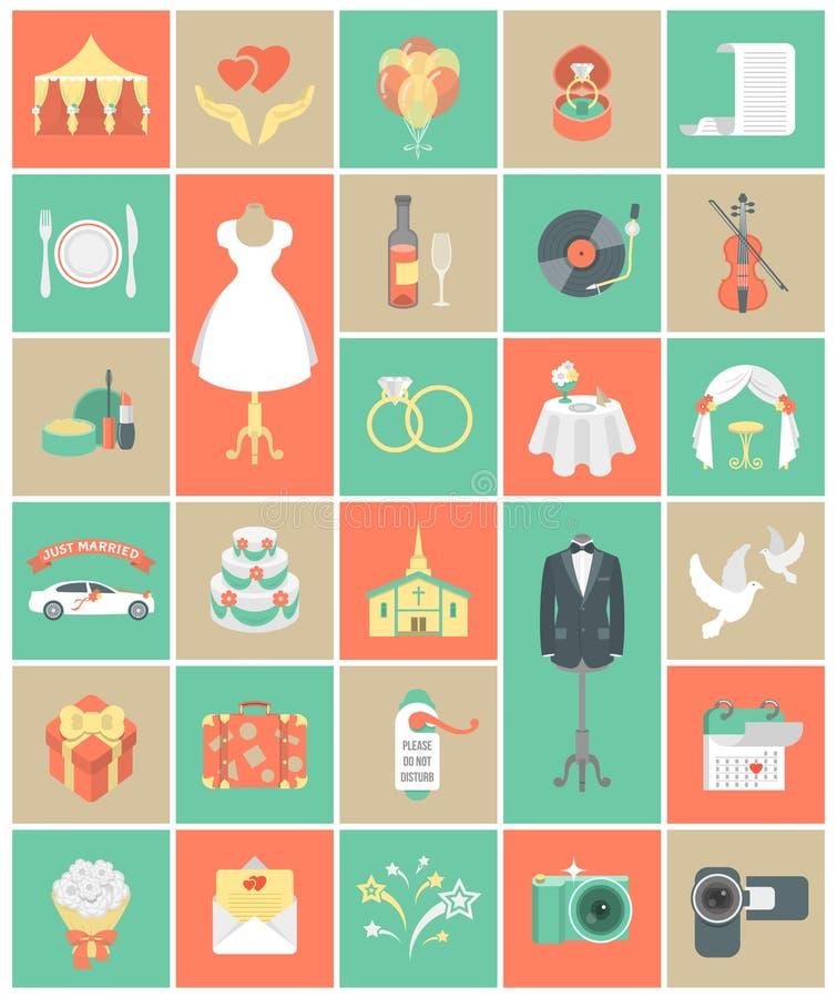Insieme del quadrato delle icone di nozze royalty illustrazione gratis