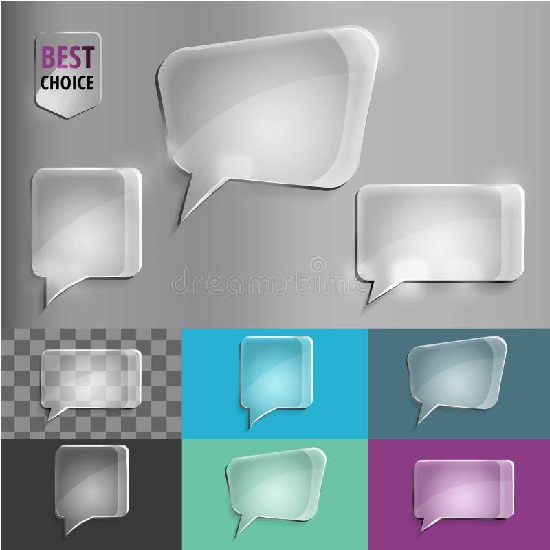 Insieme del quadrato e di rettangolo delle icone di vetro di discorso di forma con ombra molle sul fondo di pendenza Illustrazion immagini stock libere da diritti