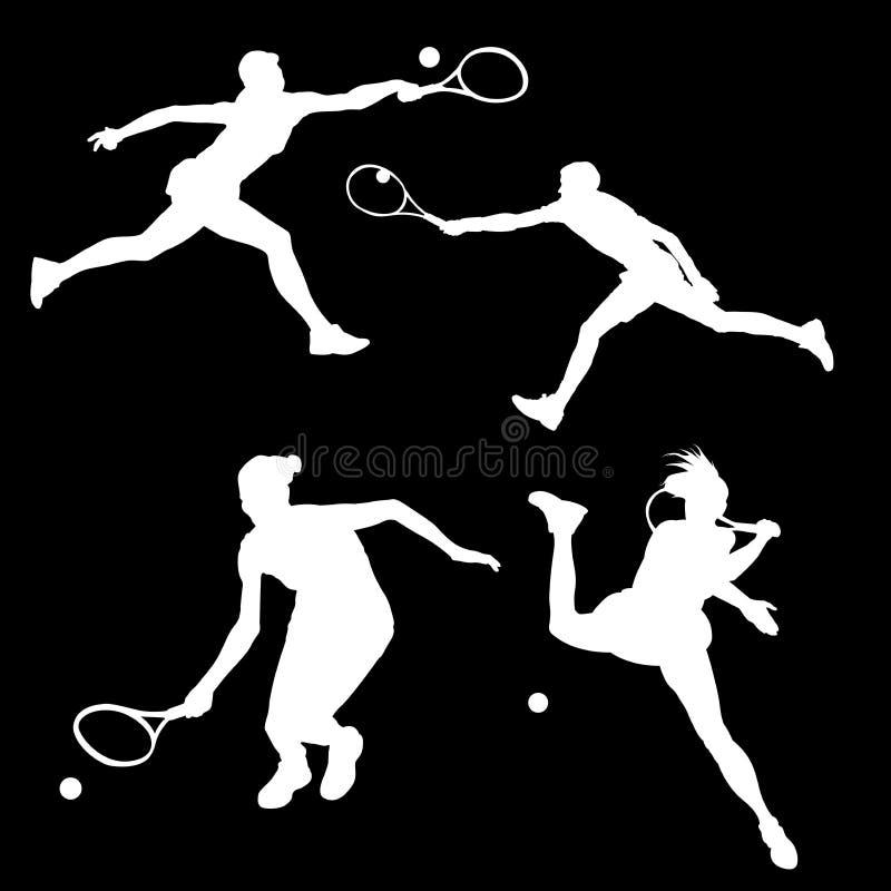 Insieme del quadro televisivo delle siluette dei tennis che battono la palla illustrazione vettoriale
