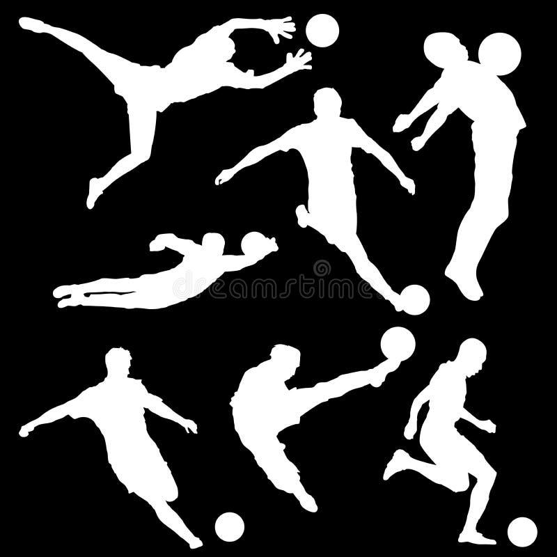 Insieme del quadro televisivo delle siluette del giocatore di football americano con una palla su un fondo nero royalty illustrazione gratis