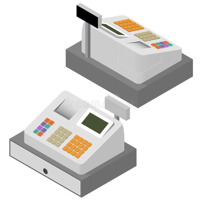 Insieme del registratore di cassa Isometrico piano royalty illustrazione gratis