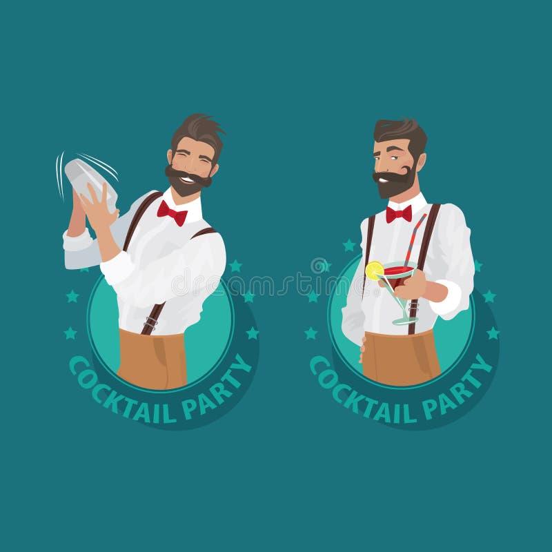 Insieme del ricevimento pomeridiano degli emblemi con il barista royalty illustrazione gratis