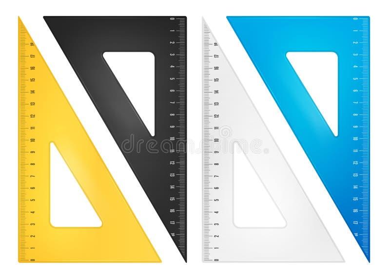 Insieme del righello del triangolo illustrazione vettoriale