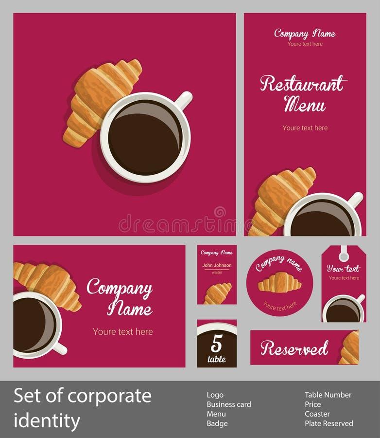 Insieme del ristorante corporativo di stile royalty illustrazione gratis
