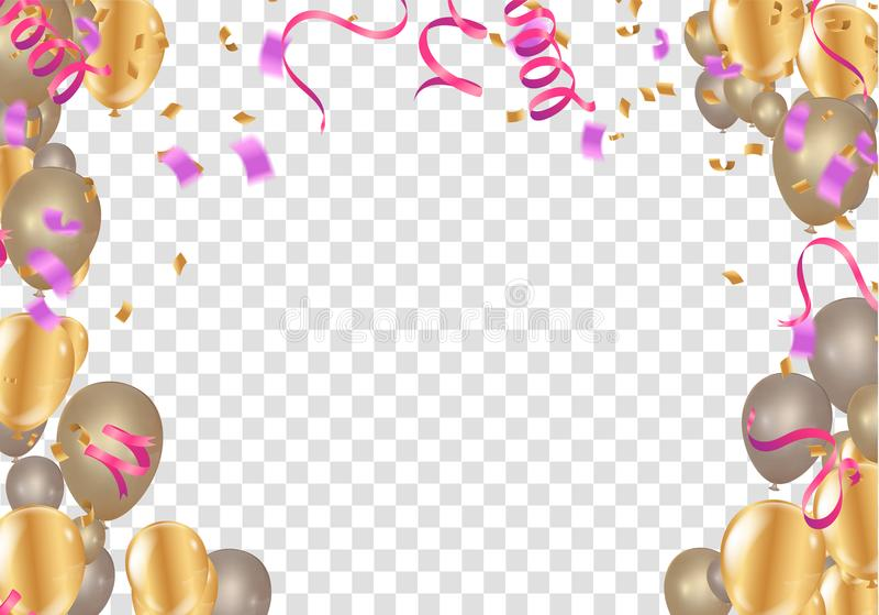 Insieme del rosa, trasparente bianco con l'isolante del pallone dell'elio dei coriandoli illustrazione di stock