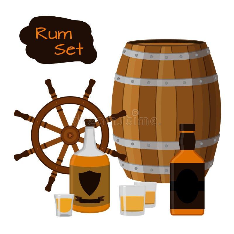 Insieme del rum Alcool, timone, barilotto, colpi, bottiglia del rum Stile piano illustrazione di stock