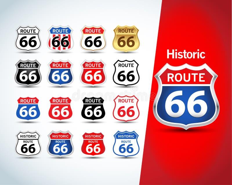 Insieme del segno dell'itinerario 66 Emblemi isolati dell'itinerario 66, distintivi, grafici dell'abito della maglietta Illustraz illustrazione vettoriale