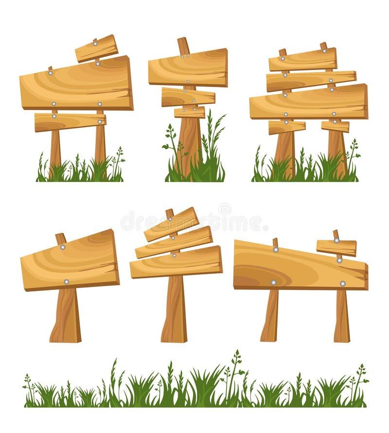 Insieme del segno di legno illustrazione vettoriale