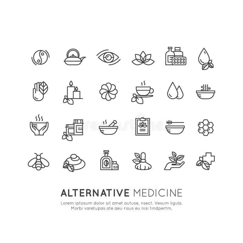 Insieme del segno di medicina alternativa IV terapia della vitamina, antinvecchiamento, benessere, Ayurveda, medicina cinese illustrazione di stock