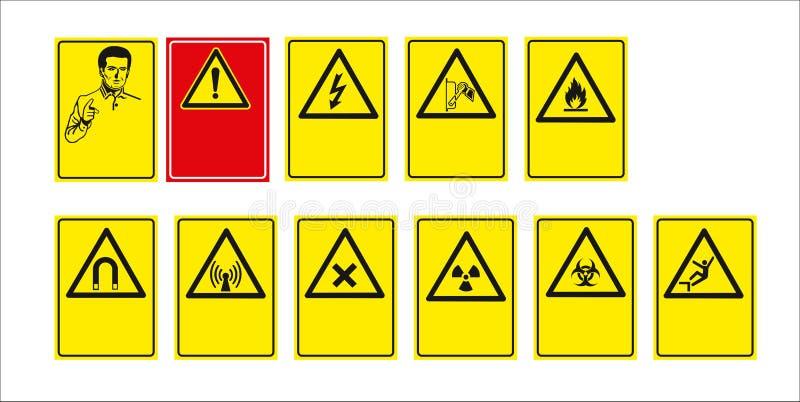 Insieme del segno obbligatorio, segno di rischio, segno proibito, segni di salute e sicurezza sul lavoro, insegna d'avvertimento, illustrazione di stock