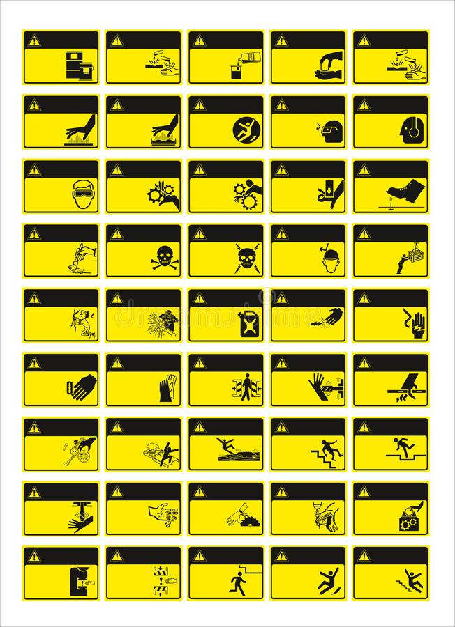Insieme del segno obbligatorio, segno di rischio, segno proibito, segni di salute e sicurezza sul lavoro, insegna d'avvertimento, royalty illustrazione gratis