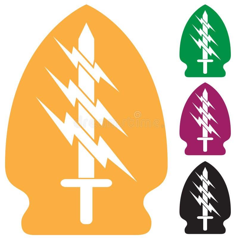 Insieme del simbolo delle forze speciali di esercito illustrazione vettoriale