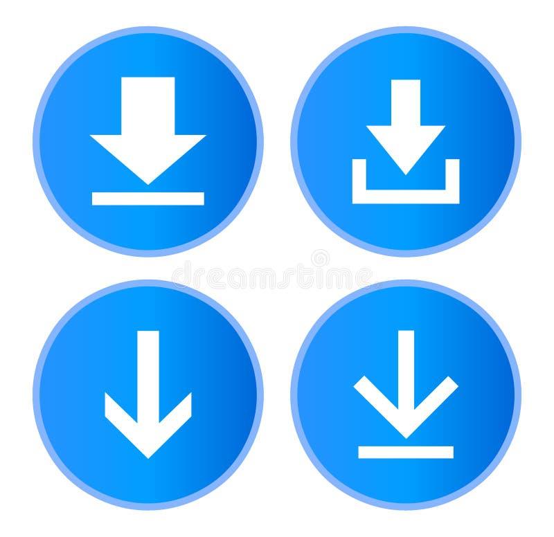 Insieme del sito Web dei bottoni di download illustrazione di stock
