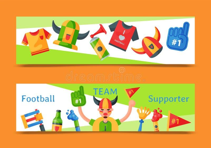 Insieme del sostenitore della squadra di football americano dell'illustrazione di vettore delle insegne Attributo del tifoso di c illustrazione vettoriale