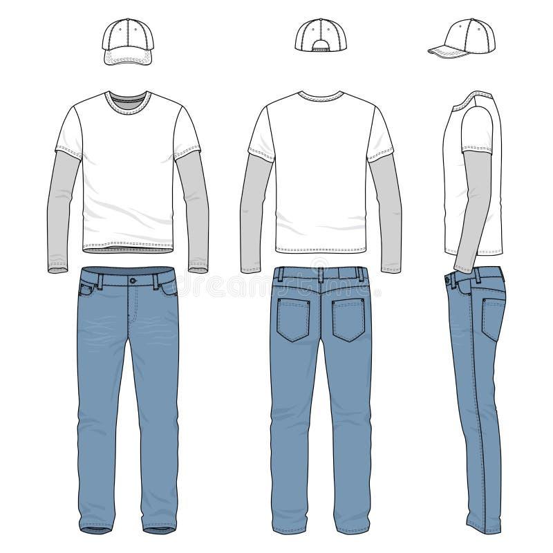 Insieme del T maschio, jeans, berretto da baseball illustrazione vettoriale