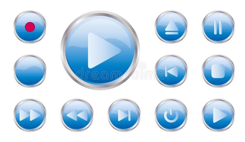 Insieme del tasto di controllo di vettore immagini stock libere da diritti