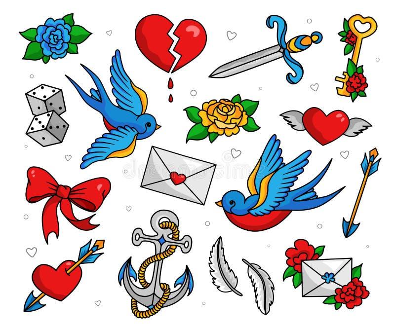 Insieme del tatuaggio della vecchia scuola illustrazione di stock