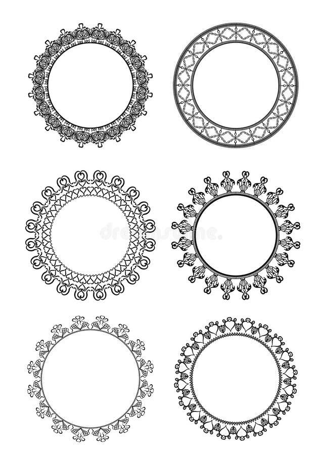Insieme del telaio in bianco e nero di pizzo su un fondo bianco royalty illustrazione gratis