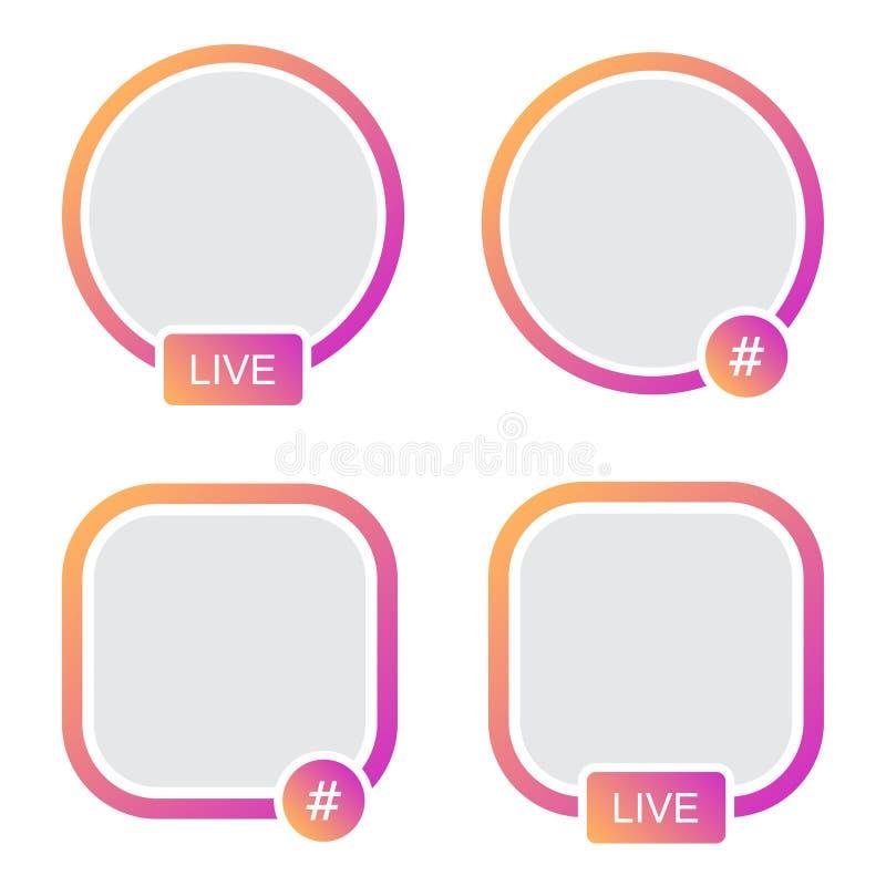 Insieme del telaio dell'avatar delle icone Flusso continuo di storie in tensione di Hashtag video royalty illustrazione gratis