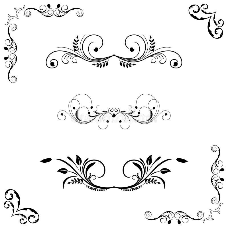 Insieme del telaio floreale illustrazione vettoriale
