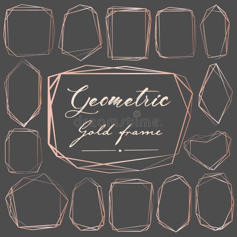 Insieme del telaio rosa geometrico dell'oro, elemento decorativo per la partecipazione di nozze, inviti e logo illustrazione di stock