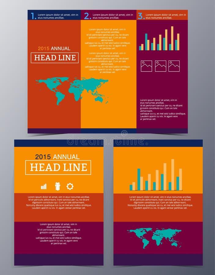 Insieme del tem infographic dell'opuscolo di stile moderno geometrico astratto illustrazione vettoriale