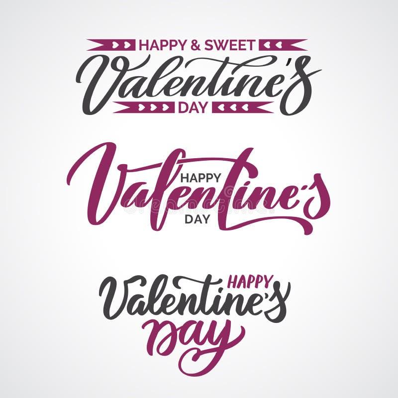 Insieme del testo di Valentine Day delle citazioni calligrafiche fotografie stock libere da diritti