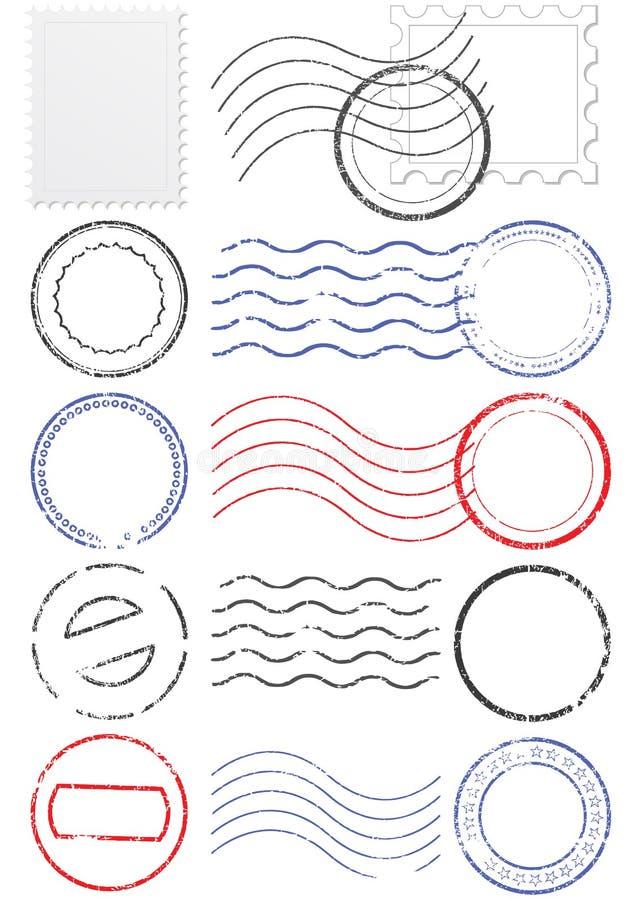Insieme del timbro postale e dei bolli differenti. illustrazione vettoriale