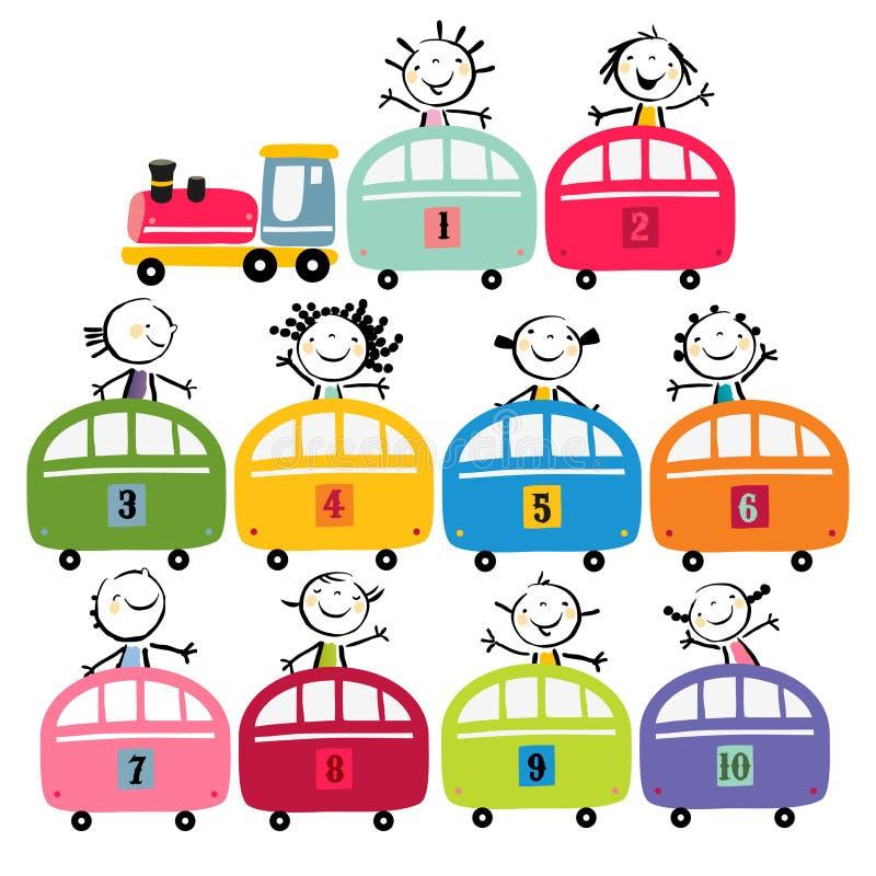 Insieme del treno dei bambini royalty illustrazione gratis