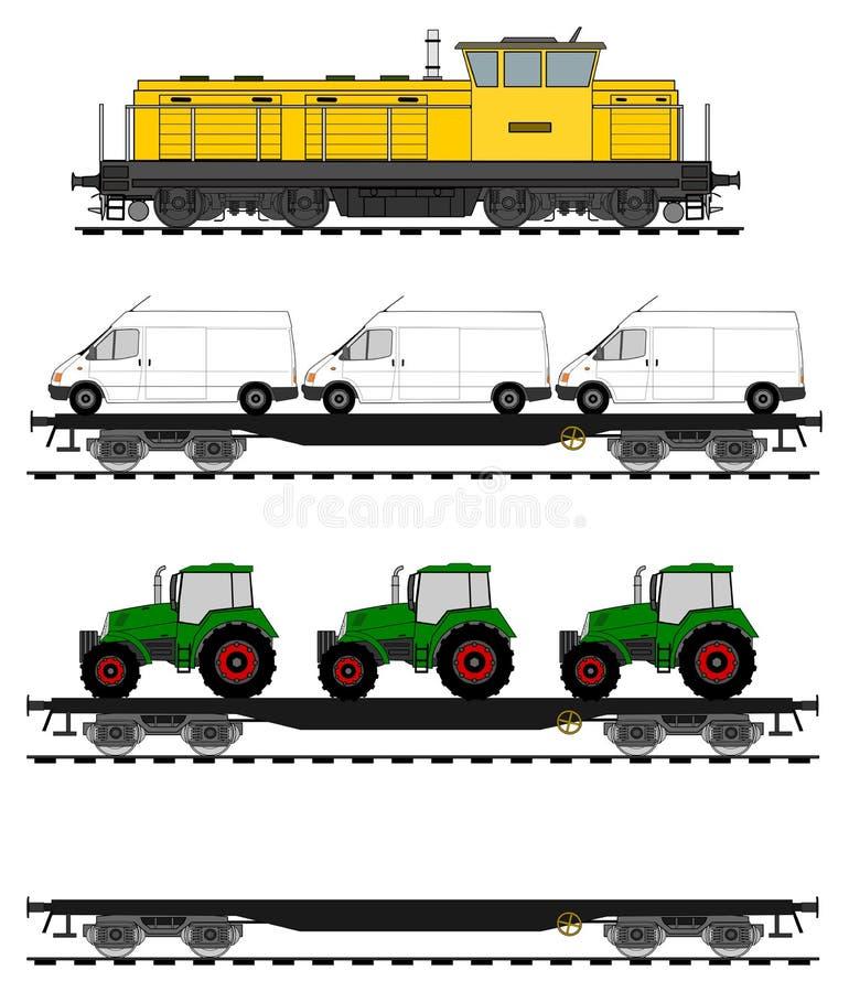 Insieme del treno di automobile piana royalty illustrazione gratis