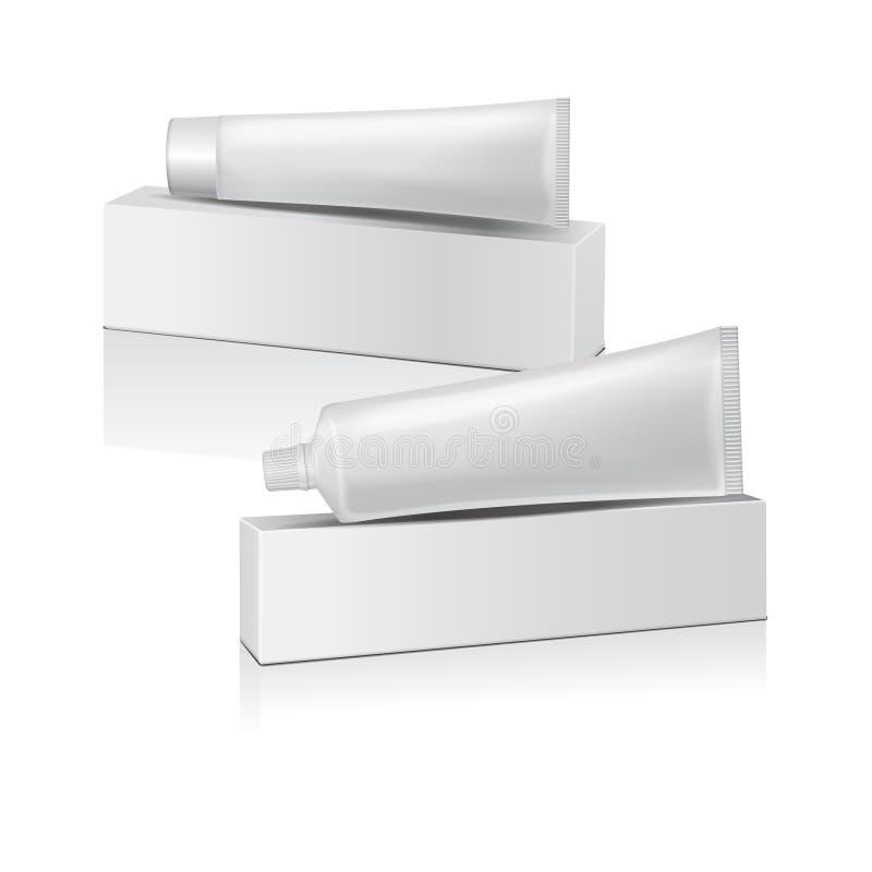 Insieme del tubo di plastica di vettore con la scatola bianca per medicina o i cosmetici - dentifricio in pasta, crema, gel, cura illustrazione vettoriale