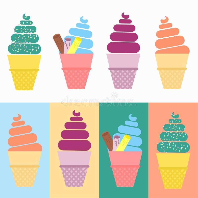 Insieme del vettore del cono gelato illustrazione vettoriale