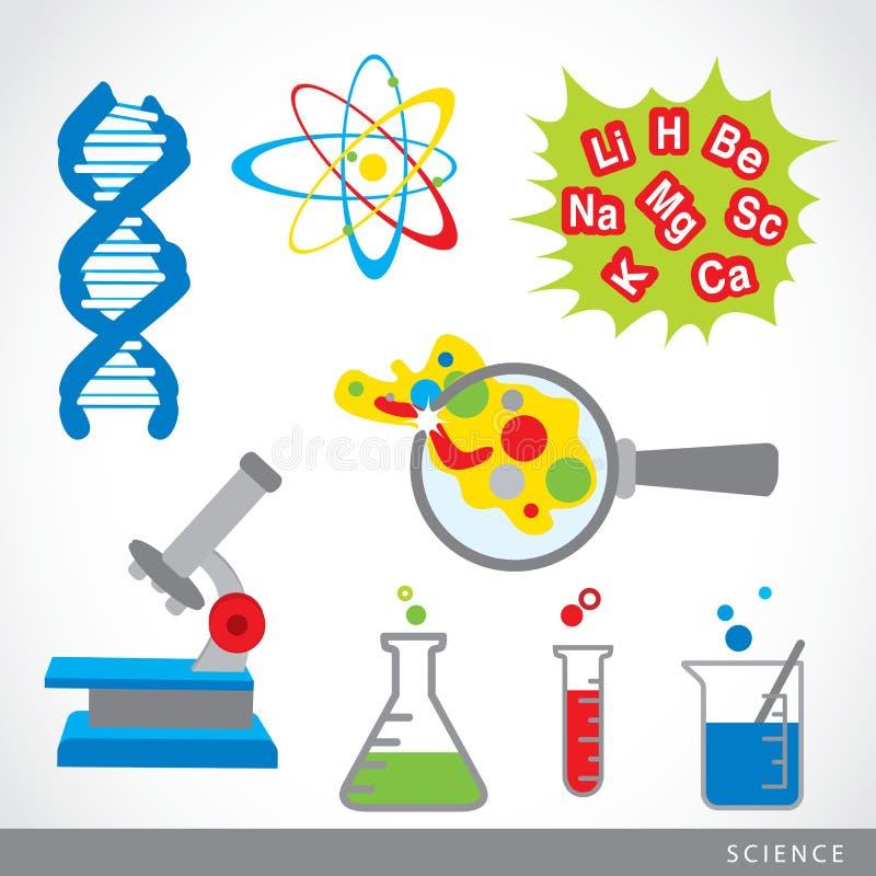 Insieme del vettore del fumetto del laboratorio dell'icona della roba di scienza illustrazione di stock